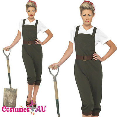 Ladies WW2 Land Girl Costume World War 2 Wartime Outfit 40s Army Fancy Dress • 16.89£