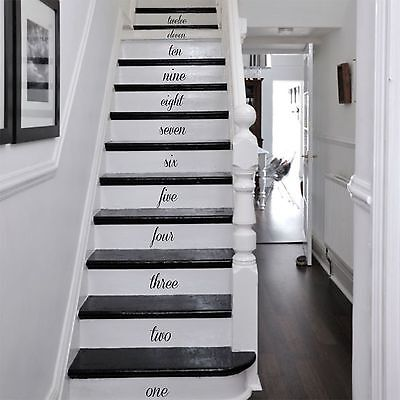 HAND WRITTEN NUMBERS FOR STAIRS Wooden Wall Art, Decal, Sticker, Quality NEW • 5.99£