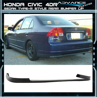 $99.99 • Buy For 01-03 Honda Civic Sedan TR Style PP Unpainted Black Rear Bumper Lip Spoilers