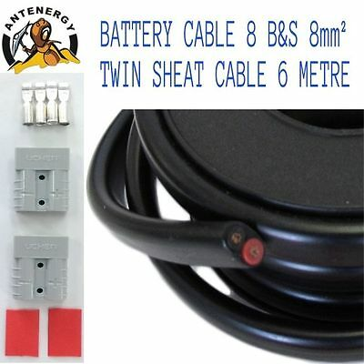 AU49.50 • Buy 6 METRE BATTERY CABLE 8 B&S  8mm² TWIN SHEATH CABLE 2X ANDERSON PLUGS CONNECTOR