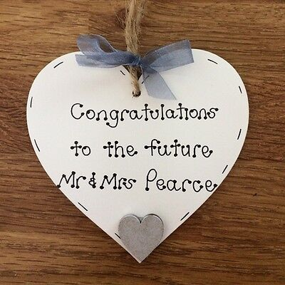 Personalised Handmade Engagement Gift/present Wooden Heart • 5.95£
