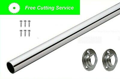 WARDROBE RAIL CHROME TUBE 25mm HANGING RAILS WITH ENDS AND SCREWS FREE CUTTING • 14.99£