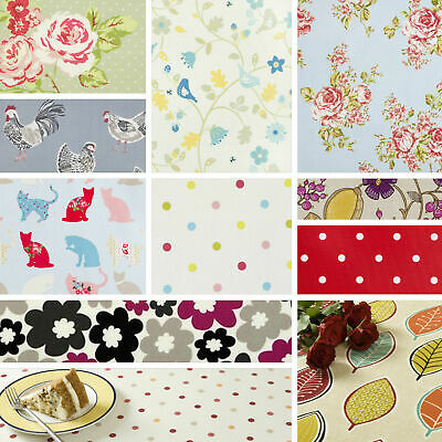 Clarke And Clarke Wipe Clean Oilcloth Fabric Vintage & Red Tablecloths 100cm  • 1.10£