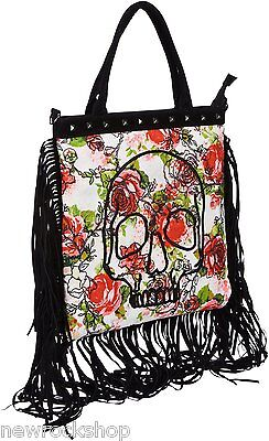 Iron Fist Woman Creepy Rose Canvas Tote Skull Black White Bag Ifltot11129S13 • 69.99£
