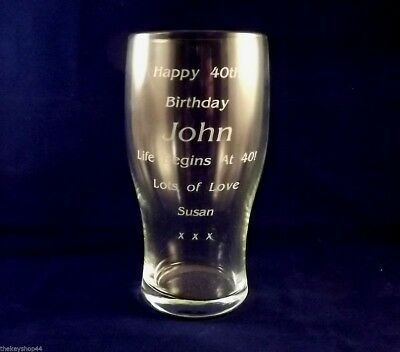 PERSONALISED ENGRAVED PINT GLASS BEER GLASS 18th 21st 30th 40th Birthday Gift • 8.50£