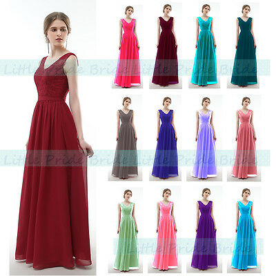 £39.99 • Buy A-Line V-Neck Lacy Floor-length Chiffon Bridesmaid Dress With 6-22 (JS52)