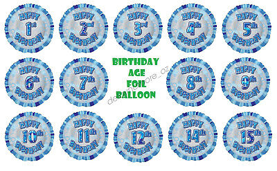 AU5.60 • Buy Glitz Blue Birthday Age Foil Balloon Party Supplies Decoration First Helium Kids