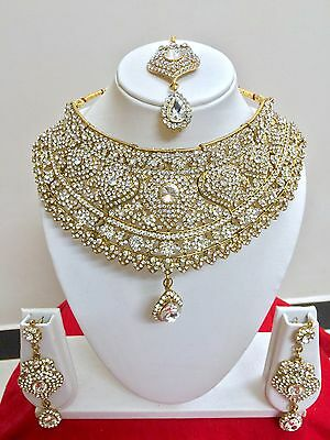 $48.74 • Buy Indian Bollywood Style Fashion Gold Plated Bridal Jewelry Necklace Set