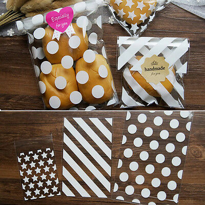 £2.99 • Buy White Star Spots Cello Cellophane Birthday Party Favour Sweet Cookie Gift Bags