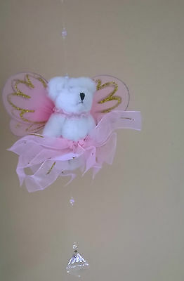 £6.99 • Buy Children's Bedroom /Nursery Ceiling Mobile,  Pink Angel Teddy With A Crystal