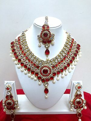 $27.29 • Buy Indian Bollywood Style Diamante Kundan Pearl Gold Tone Bridal Jewelry Set