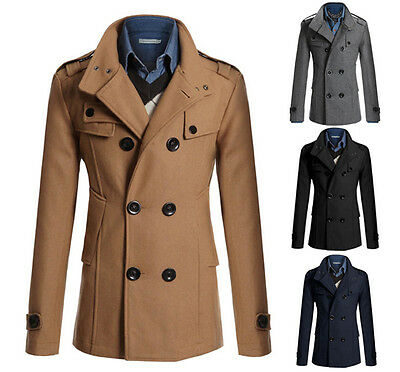 $46.24 • Buy Military Style Double Breasted Peacoat Casual Slim Fit Jacket Trench Coat PK95