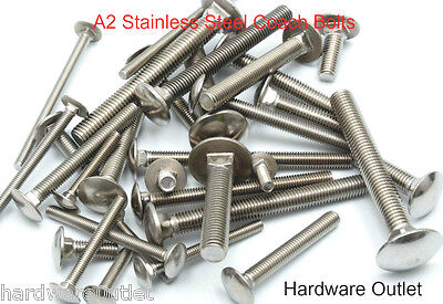 STAINLESS STEEL COACH BOLTS A2 Carriage Cup Square All Sizes Available • 5.38£