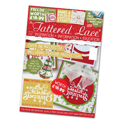Tattered Lace CHRISTMAS SPECIAL Magazine 2016 With FREE Christmas Sentiments Die • 7.95£