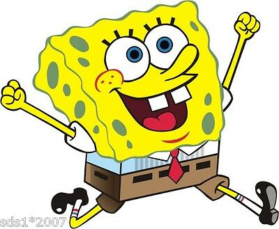 2 X SPONGE BOB SQUARE PANTS WALL ART Sticker DECAL GRAPHIC 100mm High ANY USE • 2.99£