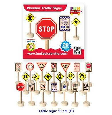 AU29.95 • Buy Fun Factory 20 Pcs Wooden Traffic Road Sign Australia Safety Pretend Play Toy