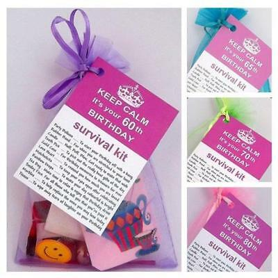 60th 65 70 80th BIRTHDAY PRESENT SURVIVAL KIT FUN NOVELTY GIFT PERSONALISED PXG • 2.99£