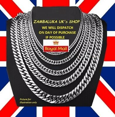 Stainless Steel 316L Chain Necklace Silver 3-10mm 14 -30  Curb Link Mens  No 3 • 4.79£
