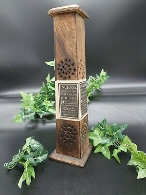 £5.99 • Buy Smoke Box Tower Incense Stick & Cone Ash Catcher Wood Carved