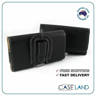 AU11.99 • Buy M-black Premium Horizontal Leather Case With Belt Clip For Samsung, Iphone, Htc