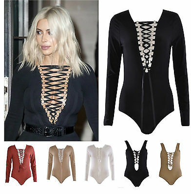New Womens Ladies Celeb Kim Lace-up Tie Front Plunge Neck Bodysuit Leotard 6-14 • 9.99£