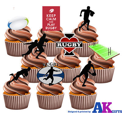 £5.25 • Buy PARTY PACK - 36 X  Rugby Ball Pitch Silhouette Players Mix EDIBLE CAKE TOPPERS