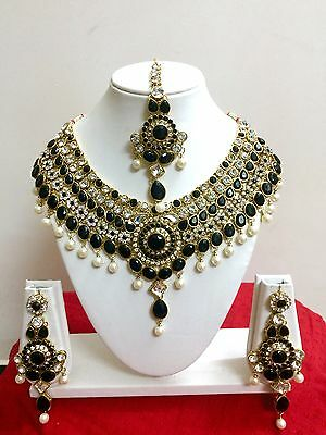 $27.29 • Buy Indian Bollywood Style Diamante Kundan Pearl Gold Plated Bridal Jewelry Set