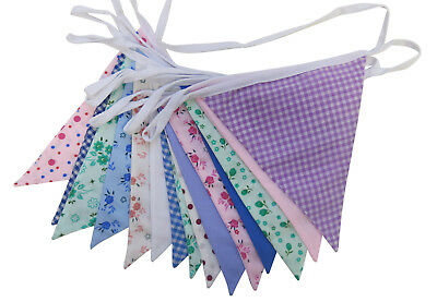 £7.25 • Buy Farmhouse Vintage Floral Shabby Chic 5m Double Sided Fabric Bunting - Free Post