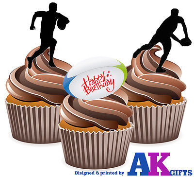 £3.49 • Buy 12 Edible Birthday Cup Cake Toppers Happy Birthday Silhouette Players Rugby Mix