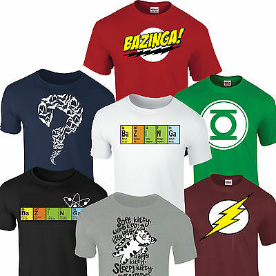 BAZINGA BIG BANG THEORY SHELDON T SHIRT Flash Riddler Green Lantern Soft Kitty  • 4.49£