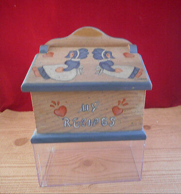 Wooden Wood Recipe Box Country Dolls Rustic With Dividers          B8 • 14.58£