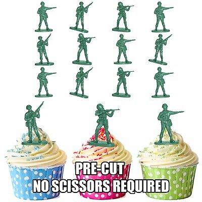 £3.49 • Buy Army Vintage Toy Soldiers PRECUT Edible Cupcake Toppers Cake Decorations 12 Pack