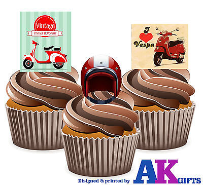 PRECUT Vintage Vespa Scooter Mods Mix 12 Edible Cupcake Toppers Cake Decorations • 3.49£