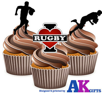 £3.49 • Buy 12 Edible Birthday Cup Cake Toppers -  I Love Rugby Silhouette Players Mix