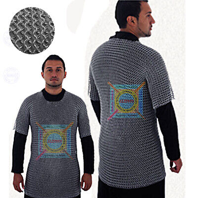 £15 • Buy Aluminium Chainmail Shirt Butted Aluminum Chain Mail Haubergeon Medieval Armour