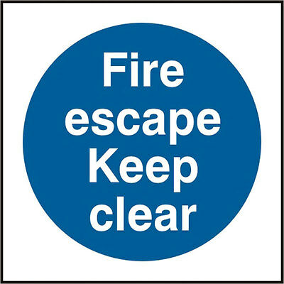 Fire Escape Keep Clear Self Adhesive Vinyl Safety Sign 150x150mm • 1.95£