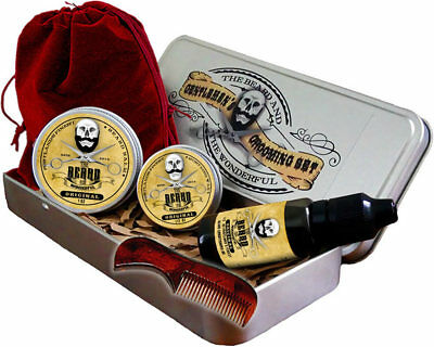 Best Mens Grooming Kit 6 Piece, Moustache Wax,Beard Balm,Beard Oil,Comb & Case • 14.95£