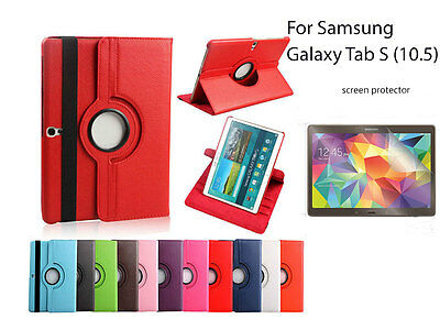 AU9.90 • Buy For Samsung Galaxy Tab S (10.5) Screen Protector/ Rotating PU Leather Case Cover