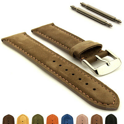 Suede Genuine Leather Watch Strap Band Teacher SS. Buckle 18 19 20 22 24 MM • 11.95£