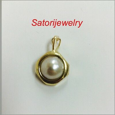 $255 • Buy 14K Yellow Gold And Mabe Pearl Pendant Necklace Bridal Gift Free Shipping USA