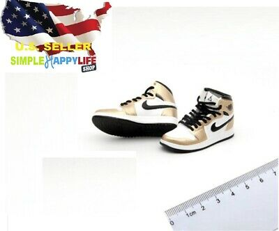 $17.84 • Buy 1/6 Male Sneakers Fashion AJ Gold Shoes For 12  Hot Toys Phicen Enterbay ❶USA❶