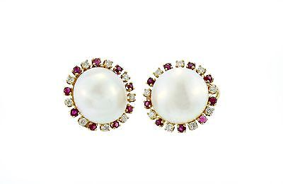 $1310.80 • Buy 14k White Gold Mabe Pearl, Ruby And Diamond Earrings