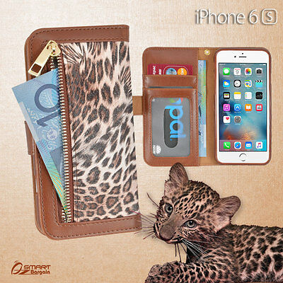 AU8.59 • Buy Leopard Zip Wallet Bag ID Card Flip Leather Case Cover For IPhone 6s 6 S Plus