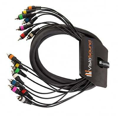 8-Way 3m RCA Phono To RCA Phono Loom / Effects Patch / Multicore Cable • 18.99£