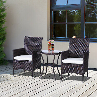£164.99 • Buy Outsunny 3PC Rattan Furniture Bistro Set Garden Chair Table Patio Outdoor Wicker
