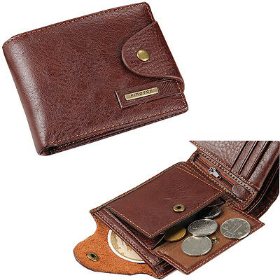 $9.99 • Buy Men's Bifold Leather Card Holder Wallet With Flap Coin Pocket Convenient Purse