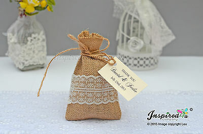 Bespoke Wedding Hessian Favor Bags Burlap Lace Twine Party Gift Thank You Tags • 29.99£