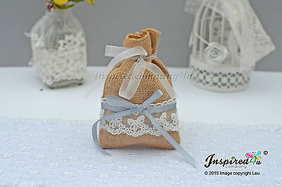Hessian Favor Bags Wedding 25 X Burlap Bow Lace Ribbon Goody Fillers Thanks • 33.99£