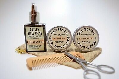 Old Blue's Beard Grooming Kit, Cedarwood Moustache Wax, Beard Oil & Balm  • 14.99£