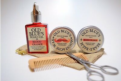 Old Blue's Beard Grooming Kit, Blood Orange Moustache Wax, Beard Oil & Balm  • 14.99£